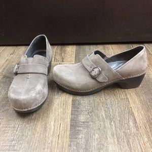 Dansko Gray Slip On Heels   Size 39
